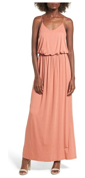 Lush knit maxi dress in coral cedar - Ultra-skinny adjustable straps top a maxi dress with a...