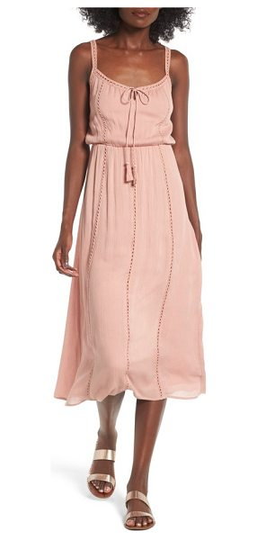 Lush ladder trim midi dress in dusty blush