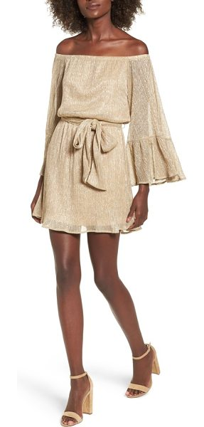 LUSH metallic flare sleeve off the shoulder dress - Metallic thread adds party-ready sparkle to this...