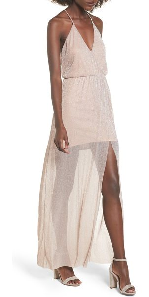 Lush metallic surplice maxi dress in pink - A gossamer skirt overlay adds dreamy detail to this...