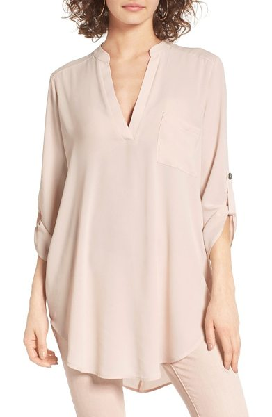 Lush perfect roll tab sleeve tunic in sheer pink - A long, swingy silhouette brings graceful movement to a...