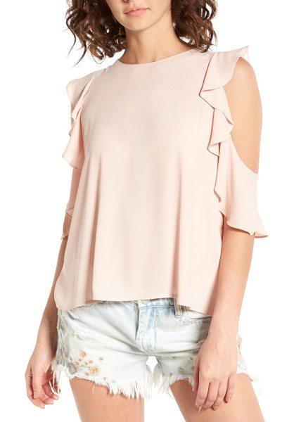 Lush ruffle cold shoulder top in cameo rose - Flouncy ruffles cascade around the shoulder cutouts of a...