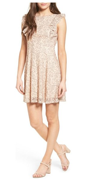 Lush ruffle lace dress in coral - Blush-hued lace and a softly ruffled bodice add a sense...