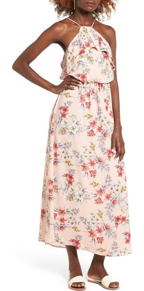 Lush ruffle maxi dress in peach floral - A high neck trimmed in soft ruffles makes a beautifully...