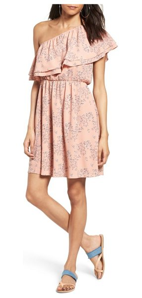 Lush ruffle one-shoulder dress in pink blue floral - Pretty flowers enhance the whimsical look of a ruffled...