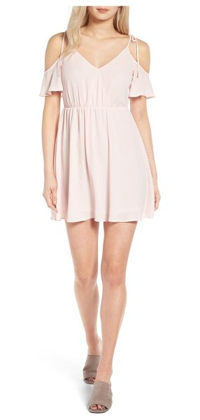 Lush surplice cold shoulder dress in crystal pink - Sweet little bow-tied straps suspend the draped...