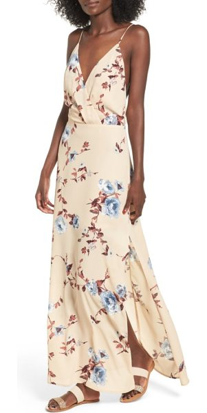 Lush surplice maxi dress in tan blue - Thigh-high slits add movement to the sweeping skirt of a...