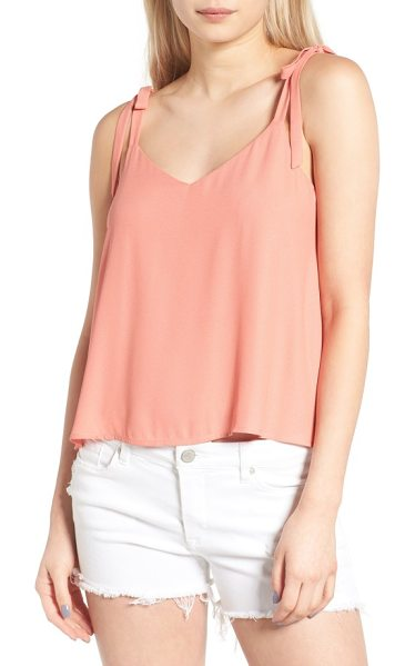 Lush tie shoulder camisole in coral terr - Decorative tie straps sweeten the look of a flowy tank...