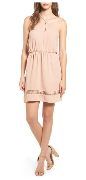 LUSH y-neck blouson dress - Pintuck pleats and crochet insets at the hem add pretty...