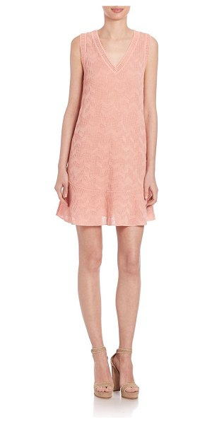 M MISSONI boxy v-neck solid dress - Fashionable silhouette in textured zig-zag...