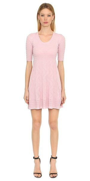 M MISSONI Cotton knit jacquard dress in pink - Round neckline. Elbow length sleeves. Gathered skirt...