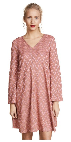 M MISSONI flare sleeve mini dress - Fabric: Fine, metallic pointelle Flare cuffs Swing...
