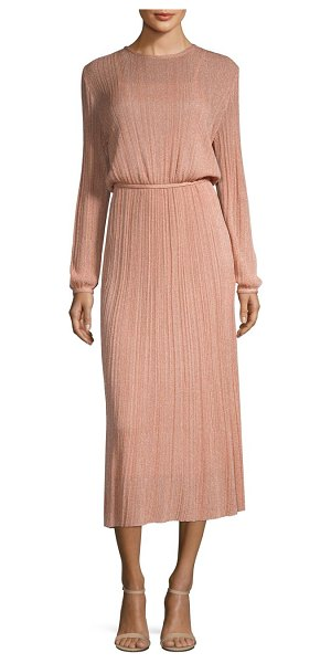 M MISSONI lurex plisse midi dress in blush - Pleated textures are accentuated with shimmery...