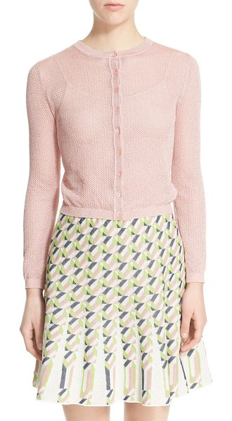 M Missoni metallic mesh cardigan in blush - Metallic threads add subtle shine to the beautiful open...