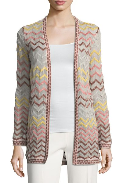 ee65ad3e1c9 M Missoni Multicolor Zigzag-Print Open-Front Cardigan in blush - M Missoni  cardigan