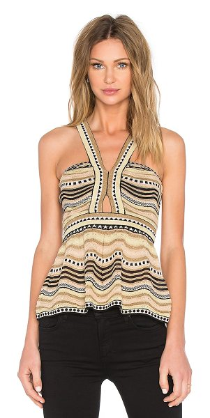 M Missoni Peplum Top in beige - Self: 50% polyamide 24% cotton 15% viscose 7% poly 4%...