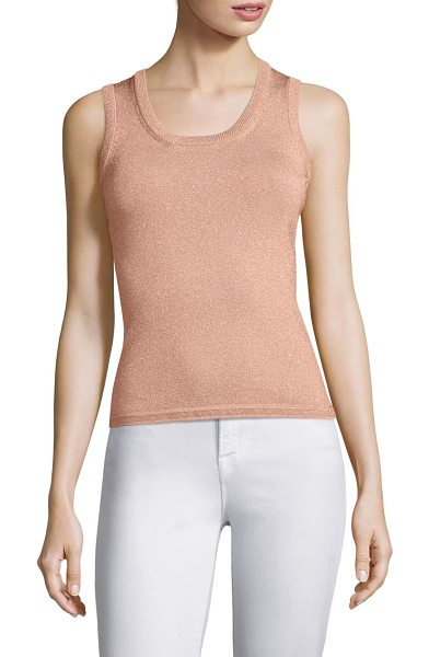 M MISSONI ribbed tank top in blush - Fashionable tank top knitted in a textured finish....