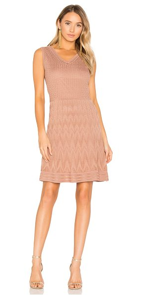 M Missoni Sleeveless Mini Dress in tan - This swingy mini is made quintessentially M Missoni with...