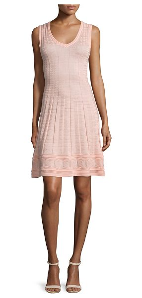 M Missoni Sleeveless V-Neck Sheath Dress in peach - M Missoni textured wool-blend dress. V neckline....