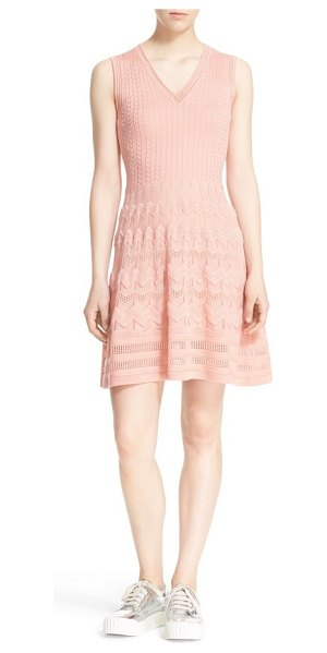 M Missoni v-neck wool blend knit tank dress in blush - A tactile chevron knit spun from a polished wool blend...