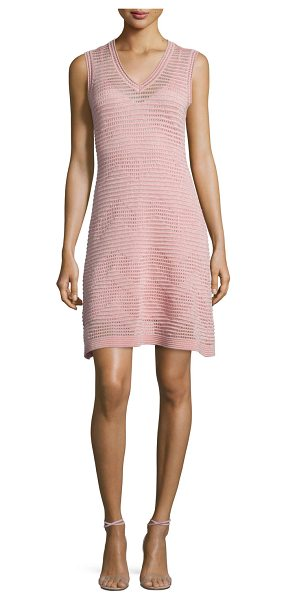 M Missoni Zigzag V-Neck Sleeveless Dress in blush - M Missoni metallic open-knit dress in zigzag pattern. V...