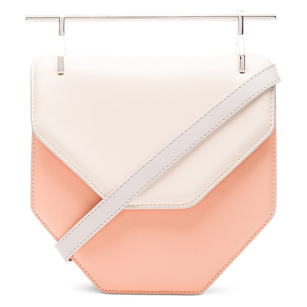 M2MALLETIER Amor fati bag in neutrals,orange - Calfskin leather with leather lining and silver-tone...