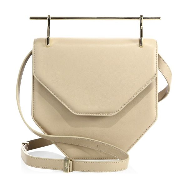 "M2MALLETIER amor fati leather shoulder bag in sand - Architectural leather style with sleek ""needle"" handle..."