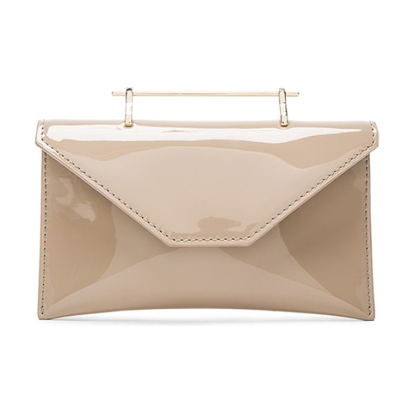 M2MALLETIER Anabelle Bag in neutrals - Patent calfskin leather with leather lining and pale...