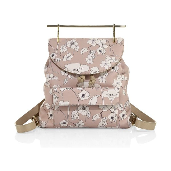 M2MALLETIER flower-print leather mini backpack in sand - Floral-print leather backpack with sleek, modern handle....