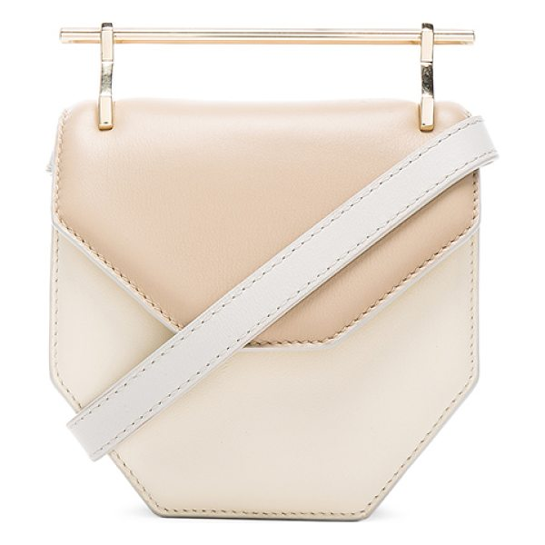M2MALLETIER Mini amor fati bag in neutrals - Calfskin leather with leather lining and silver-tone...