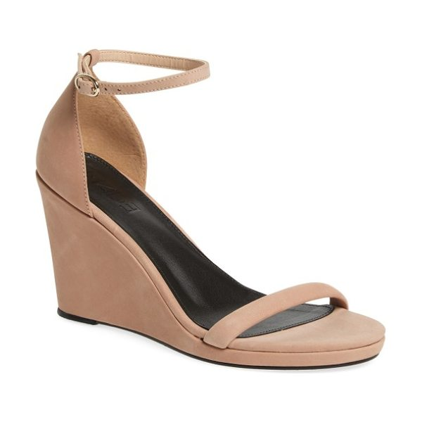 M4D3 FOOTWEAR m4d3 alice wedge in dusty rose - A slim ankle strap and an angled toe strap keep the look...