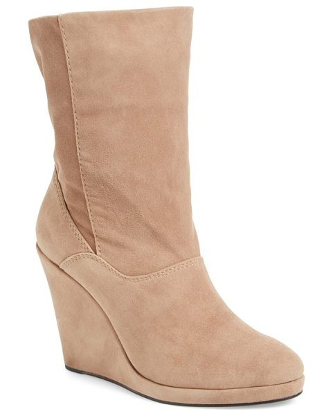 M4D3 FOOTWEAR m4d3 melanie wedge boot in taupe leather - A lofty wrapped wedge adds the perfect touch of...