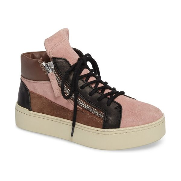 M4D3 FOOTWEAR m4d3 shiloh platform sneaker in multi dusty rose leather - Dual side zips amplify the street-savvy appeal of a...