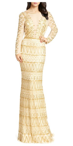 Mac Duggal Aztec Beaded Illusion Gown with Open-Back in gold