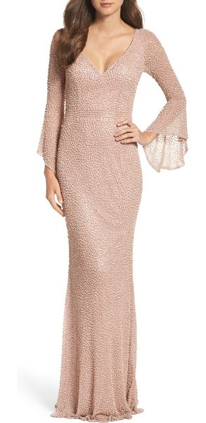 Mac Duggal beaded bell sleeve gown in mocha - Look like you just stepped off the red carpet in this...