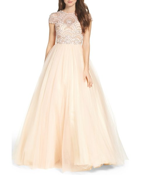 Mac Duggal beaded bodice tulle ballgown in blush - This regal ballgown is fit for a princess with its...