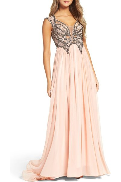 Mac Duggal beaded gown in blush - Making all of your fairytale princess dreams come true.
