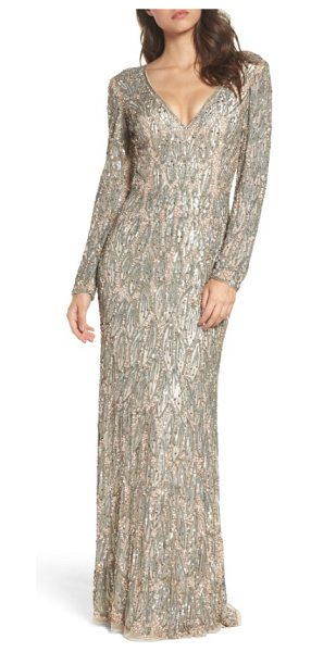 Mac Duggal beaded long sleeve gown in vintage taupe - Metallic beads and sequins placed in a dreamy leaf...