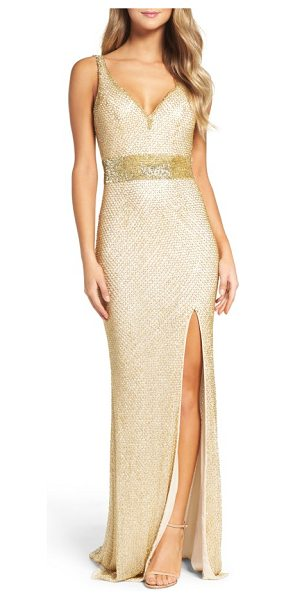 Mac Duggal beaded mesh gown in gold - Beaded latticework gleams all around this sultry-fit...