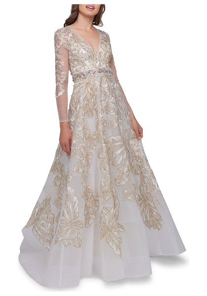 Mac Duggal Embellished V-Neck Illusion Long-Sleeve Gown w/ Beaded Waist in ivory gold