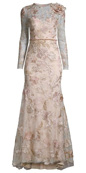 Mac Duggal floral lace embellished gown in blush