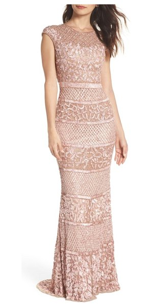 Mac Duggal high neck sequin gown in beige - Look statuesque in this glamorous column gown drenched...