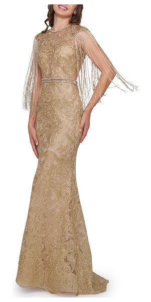 Mac Duggal Metallic Crewneck Beaded Fringe-Sleeve Open-Back Trumpet Gown in gold