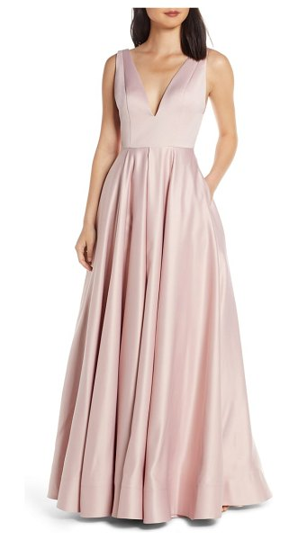 Mac Duggal plunging v-neck ballgown in pink