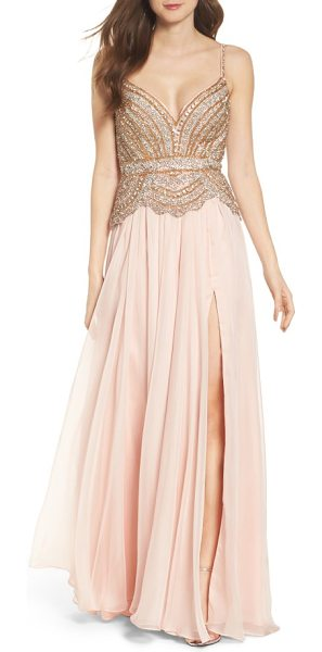 Mac Duggal rhinstone bodice a-line chiffon gown in blush - Shimmering rhinestones and golden beads illuminate the...