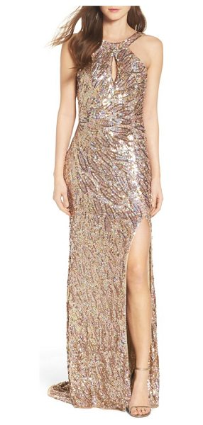 Mac Duggal sequin cowl back gown in gold - Iridescent sequins create a play of shimmering color...