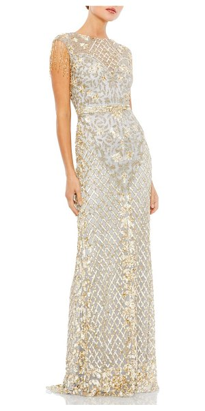 Mac Duggal sequin gown in platinum/ nude - Look like you just stepped off the red carpet in this...