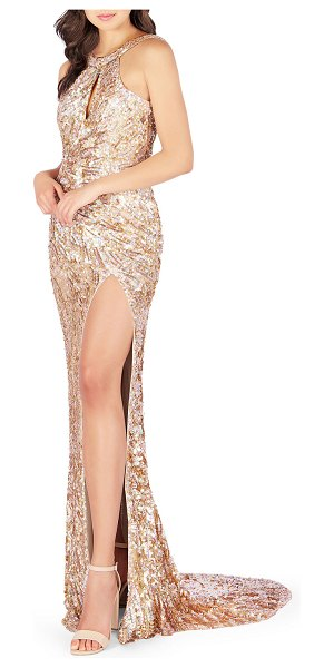 Mac Duggal Sequin Halter Keyhole-Neck Gown with Cowl Back in gold - Mac Duggal allover sequin gown with high slit. Halter...