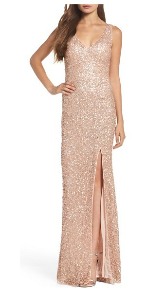 Mac Duggal sequin slit gown in rose gold - Look like you just stepped off the red carpet in this...
