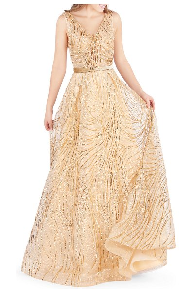 Mac Duggal Sequined V-Neck Sleeveless Belted Novelty Tulle Gown in gold